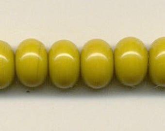 9-10mm, Tom's lampwork opaque golden harvest 12 spacers bead set 95658