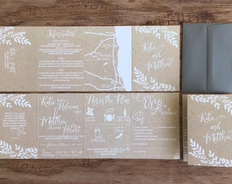 kraft wedding invitations accordion fold all in one invitation wedding itinerary tear off - Wedding Invitations With Rsvp Included