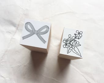 New - Oscolabo Mizuhiki & Flower Original Stamps for art mailing, journaling, techo planner deco, packaging, card making