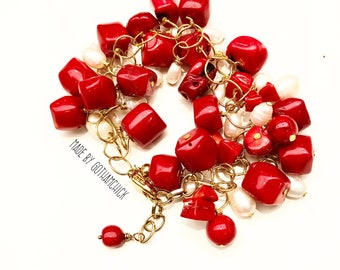Red Bamboo Coral and Freshwater Pearl Garland Bracelet BR-41