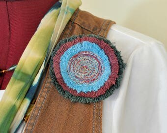 """Dyed Fringed Denim Brooch PIN CLIP - Green Blue Red Maroon Wine Denim Circle Corsage Brooch 3.25"""" Pin - 65"""