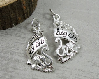 Lil Sis & Big Sis Round Filigree Duo Charms - Sterling Silver Big Sister Little Sister Charms for Necklace or Bracelet