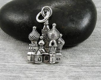 St. Basil's Cathedral Charm - Silver Plated Russian Cathedral Charm - Moscow Saint Petersburg Charm for Necklace or Bracelet