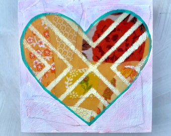 Valentine's Geometrical Heart Mixed Media Original Painting Gifts for Her Gifts Under 40