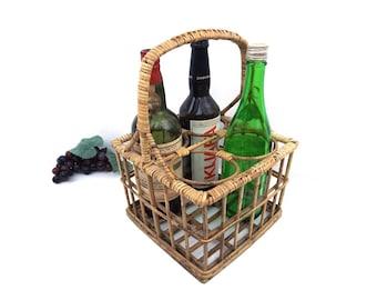wine carrier. wine basket. wicker basket. rattan basket. wine holder. wicker holder. rattan holder. vintage wine carrier. vintage wine decor
