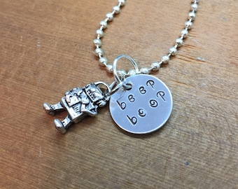 Bastion Overwatch Inspired Hand Stamped Pendant Keychain