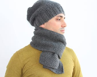 NEW Mens winter knit set scarf and hat in gray, Mens knit scarf, and knitted hat