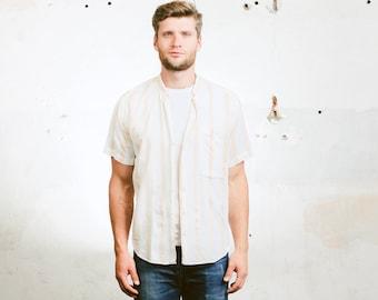 Minimalist Collarless Shirt .Striped Work Shirt Band Collar Button Down Shirt Hippie Minimalist 80s Shirt White . size Medium M