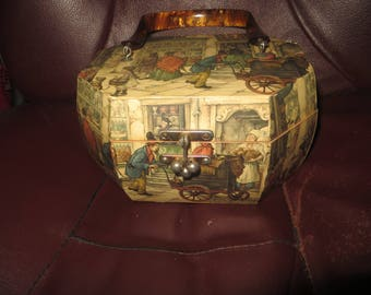 1960s    vintage wood decoupaged purse by Anton Pieck  octagonal shape