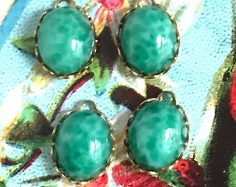 Jade green charms, oval glass charms,garden Vintage Charms,mottled charms,,9x12mm charms,Dangles Drops,green Connectors Findings #1113J