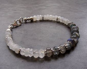 Labradorite and Rainbow Moonstone Sterling Silver Stacking Bracelet