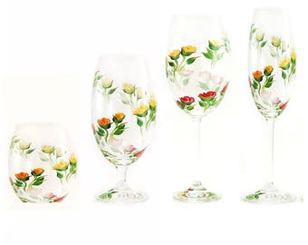 Mixed Stemware Gift Set - Hand Painted Multi-Color Climbing Rose Design, Set of 4 - Personalized Housewarming Gifts