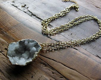 Long gold Drusy Gemstone necklace