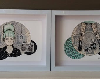 Giclee print set of 2 by Andy McCready - 'On My Radio' - Limited edition, mint, punk. Prints by giltandenvy on Etsy.