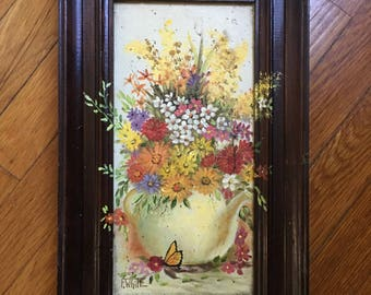 1960s F White Floral Painting • 60s Art Piece