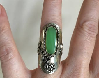 Vintage 70s Silver Bohemian Ring Adjustable 5 to 6