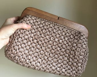 1960s Taupe Beige Woven Straw Clutch Bag