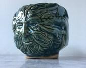 Green Man tea bowl face cup art pottery mythology sculpture head