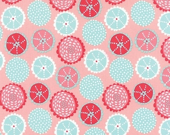 Fabric 25% off SALE Under the sea fabric 3 yd CORAL Queen of the Sea Moda sew urchins aqua pink Folktale quilt sewing Stacy Iest Hsu aqua 3