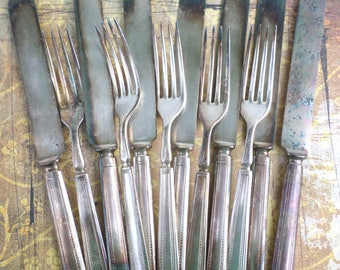 12 Shabby Worn In Forks and Knives ANTIQUE Silverware SSP Silverware Silverplate Flatware