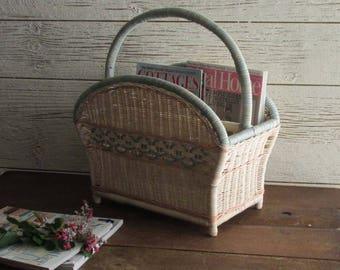 Vintage Rattan magazine rack – white/blue/pink wicker - mid century - rattan basket – mcm décor