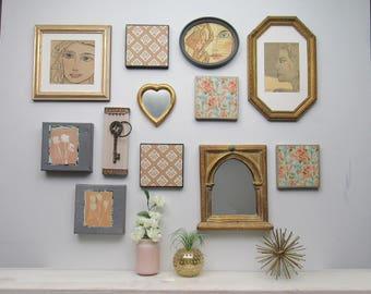 "wall art collage - ""Boho Chic"" - original mixed media - art gallery - 12 piece wall decor-millennial pink - gray"