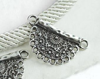 25%OFF Filigree Crochet Moon Ethnic Pendant boho tribal Necklace 2 loops lead-free Antique Silver Greek metal casting Zamak - 1 pc