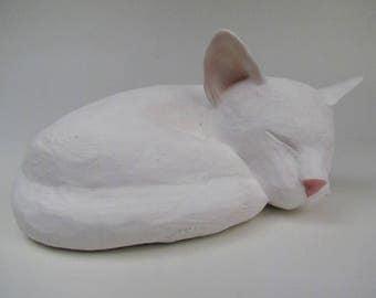 White Cat Cremain Urn in Stoneware