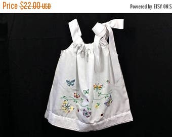 50% OFF 2T White Pillowcase Dress with bright butterfly embroidery