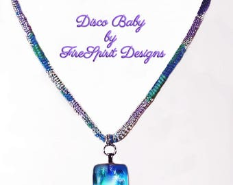 Disco Baby-Artisan necklace- OOAK necklace- beadwoven necklace- woven necklace- rope necklace- dichroic necklace- beadweaving- gift for her