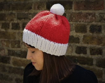 Christmas Hat, Hand Knitted Santa Claus Hat, Father Christmas Bobble Hat, Pom Pom Christmas Hat, Adult Christmas Hat, Red and White Hat
