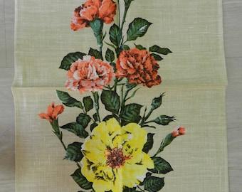 Vintage Unused DUNMOY Moygashel Irish Pure Linen Tea Towel Carnation Flower