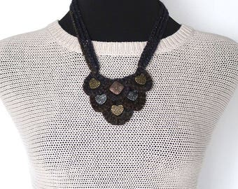 FREE US SHIPPING - Statement Necklace Dark Brown Purple Color Fiber Crochet Bib Style Necklace with Metal Hearts Pendants