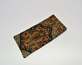 Eyeglass Case, Flex Frame Eye Glass Case, Quilted Eye Glass Case, Brown and Black Paisley