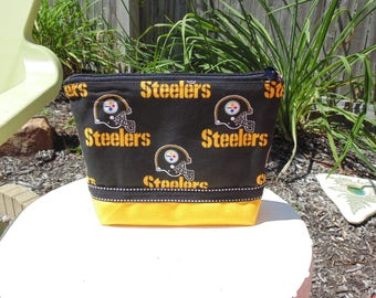 Large Cosmetic Case, Clutch, Gadget Bag, Accessory Pouch, Pittsburgh Steelers, NFL