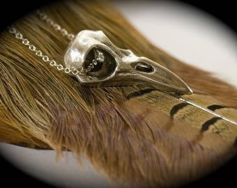 Sterling Raven Skull Necklace silver chain solid sterling) Made in NYC