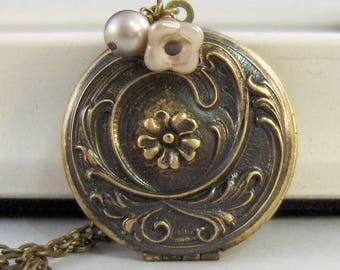 Briar Rose,Locket,Flower,Brass Locket,Brass Necklace,Floral,Pink,Pearl,Antique Locket. Handmade jewelry by valleygirldesigns.
