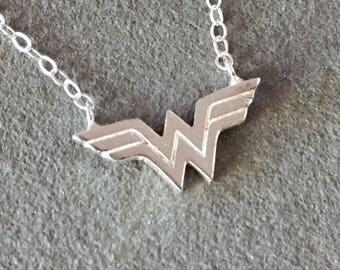 Sterling Silver Wonder Woman Necklace, Wonder Woman Necklace, Comic Book Hero Jewelry, Comic Book Necklace, Superhero Necklace, Wonder Woman