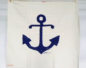 Navy Anchor Tea Towel - READY TO SHIP