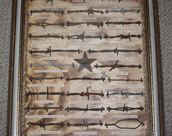Vintage Antique Barbed Wire Collection Display Authentic 28 cuts Old Wood Frame