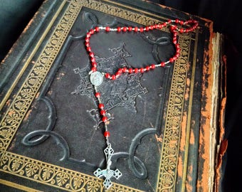 Vintage red catseye crystal & silver Inverted Cross Gemstone Rosary