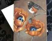 "Set of 3 blank artist greeting cards with envelopes: ""Anew"" (orange poppies and towhee bird art)"