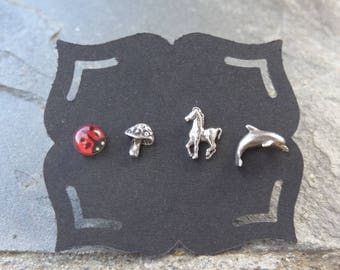 Vintage Sterling Studs - Sterling - Mismatched Earrings - Single - Post Earrings - Mythical Creatures - Shroom - Ladybug - Dolphin - Horse