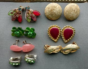 Clip On Earring Lot - Vintage Craft Lot- Jewelry Lot - Green - Pink Rhinestone Earrings for craft- Lucite hearts - D53