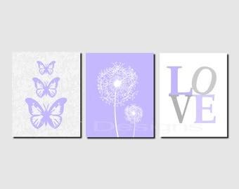 Lavender Gray Wall Art, Dandelions, Butterflies, Floral Wall Art, Love, Bathroom Wall Art, Girl Nursery Decor, Set of 3 JPG Files, Printable
