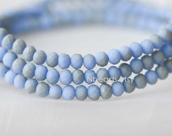 Matte Glass Rondelle 3x4mm, Chinese Crystal Faceted Beads, Frosted Blue Grey (BZ04-161)/ 145 beads full strand