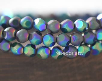 Frosted Faceted Round Crystal Glass beads 6mm, Matte Metallic Green Purple (GM023-5)/ 100 beads
