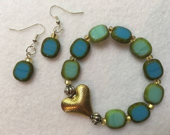 Golden Heart and Green Blue Beaded Bracelet with Matching Earrings Set, Small Wrist