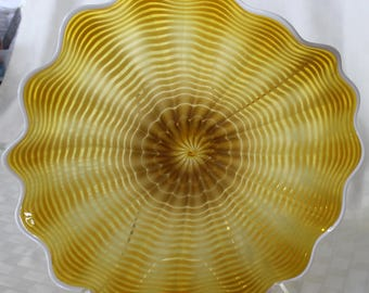 Beautiful Hand Blown Glass Art  Platter Bowl  7678 Gold ONEIL