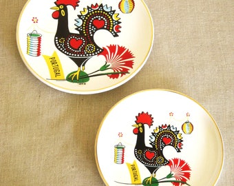 Vintage Souvenir Portugal Plates, Rooster, Folk Art, Pair, Set, Wall Decor, Wall Plate, European, Decorative Plate, Collectibles, Birds